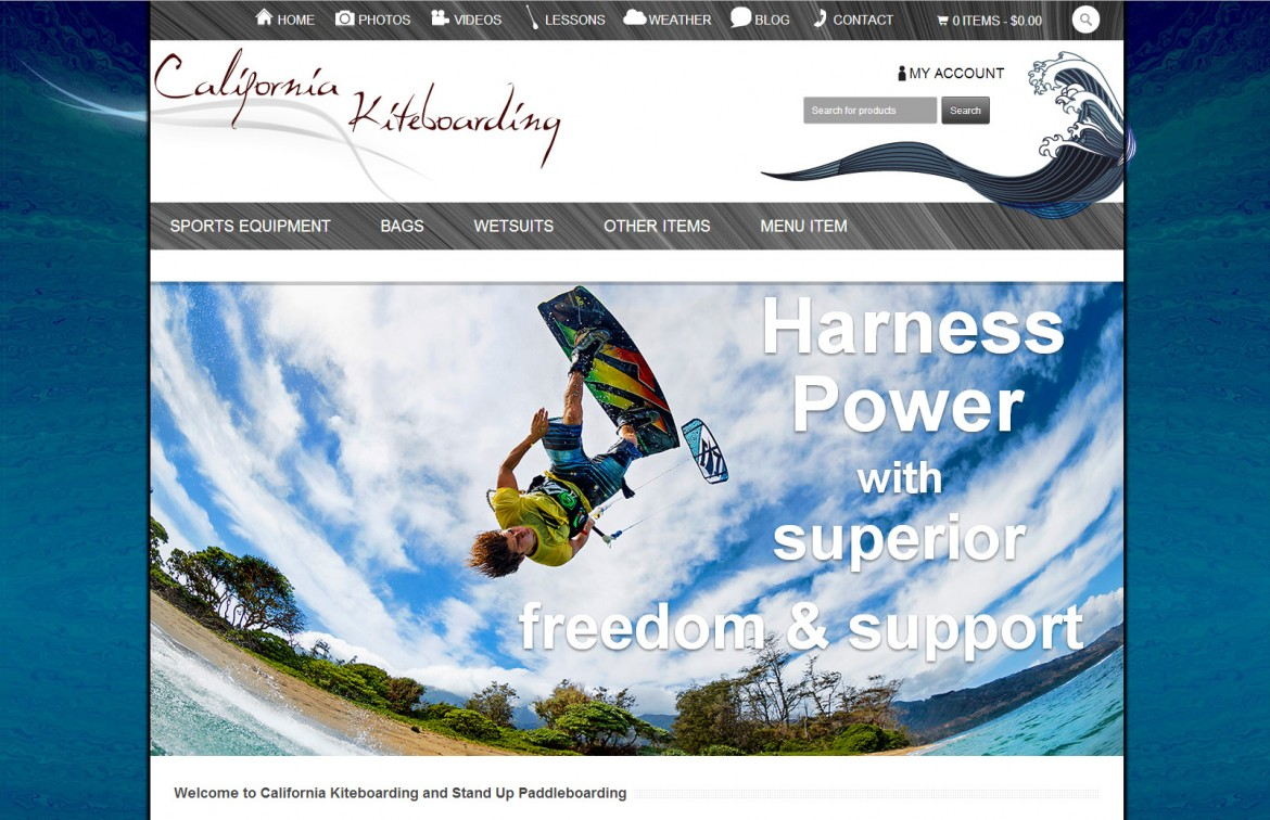 California Kiteboarding Website Development
